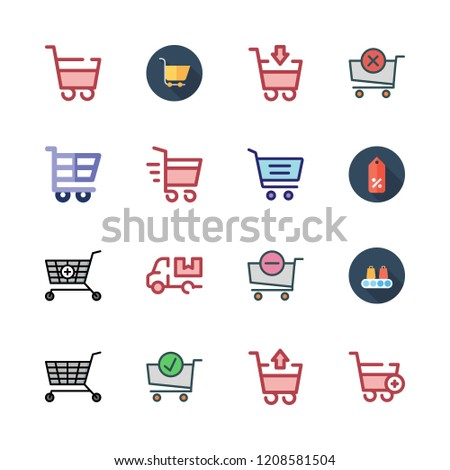 trolley icon set. vector set about cart, shopping cart, supermarket and carts icons set.