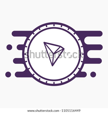tron crypto currency coin flat