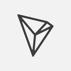TRON TRX vector icon isolated on white. Cryptocurrency, e-currency, payment, crypto currency, blockchain sign. Black logo, flat adaptation design for web site, mobile app, EPS.