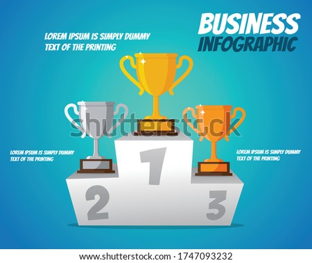 Trophies placed on the ranking podium. The golden trophy placed on the first podium, Silver trophy placed on the second podium, Bronze trophy placed on the third podium. Trophies and rankings. Busines