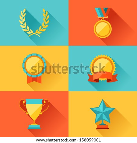 Trophy and awards in flat design style.