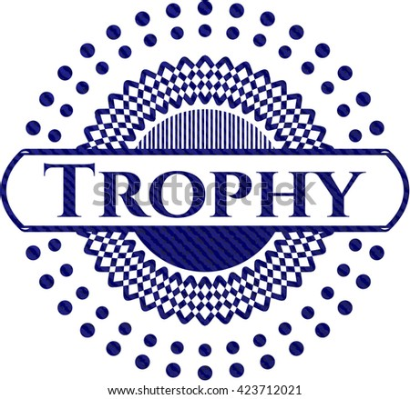 Trophy badge with denim background
