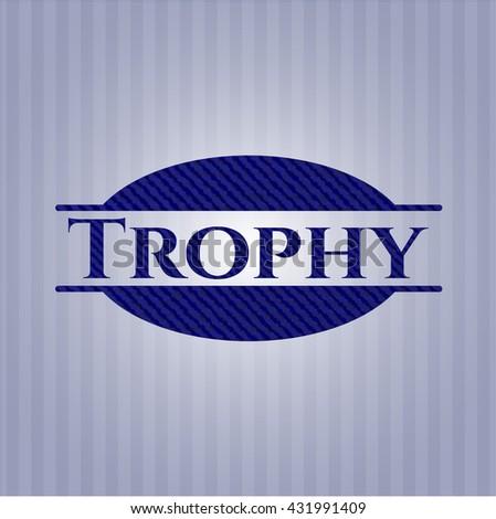 Trophy badge with denim background