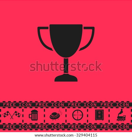 trophy black flat vector icon