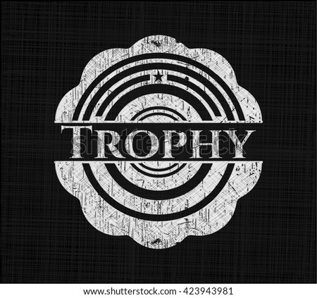 Trophy chalkboard emblem on black board