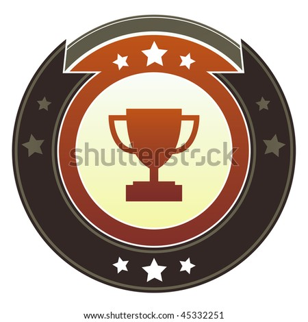 Trophy, contest, or award icon on round red and brown imperial vector button with star accents