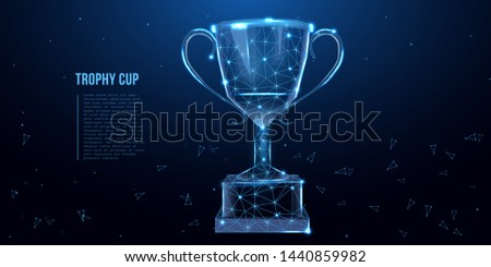 Trophy cup. Abstract image of a champion cup in the form of a starry sky or space, consisting of points, lines, and shapes in the form of stars. Low poly concept. Vector illustration.