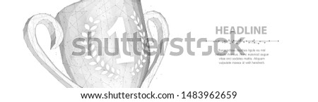 Trophy cup. Abstract vector 3d trophy isolated on white background closeup Champions award, sport victory, winner prize concept Competition success, first place, best win, celebration ceremony symbol.