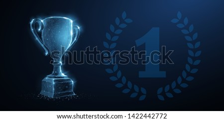 Trophy cup. Abstract vector 3d trophy with laurel wreath isolated background. Champions award, sport victory, winner prize concept. Competition success, first place, best win symbol. Top one number