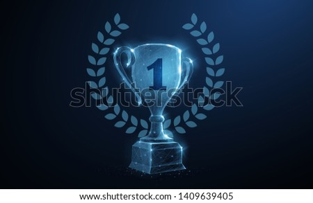 Trophy cup. Abstract vector 3d trophy wreath laurel isolated background. Champions award, sport victory, winner prize concept. Competition success, first place, best win symbol. Top one number