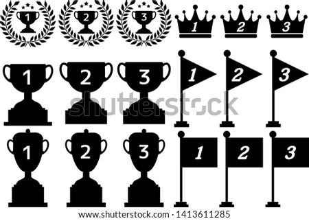 Trophy cup, award, champion bronze trophy .gold trophy. silver trophy.Vector image of a square flag.Vector image of triangular flags. Numbered flag.crown awards for winners, champions, leadership.