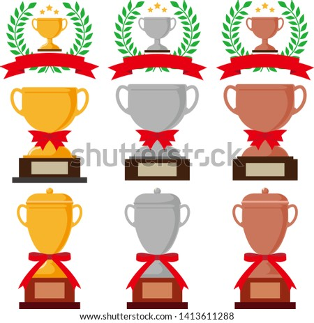 Trophy cup, award, champion bronze trophy .gold trophy. silver trophy.Vector image of a square flag.Vector image of triangular flags. crown awards for winners, champions, leadership.