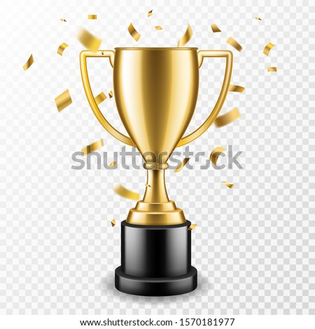 Trophy cup. Champion trophy, shiny golden cup and falling confetti, sport award. Winner prize, champions realistic vector celebration winning concept
