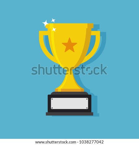 Trophy cup flat icon design with handles and blank nameplate with drop shadow on blue background. Champion cup. Gold cup.
