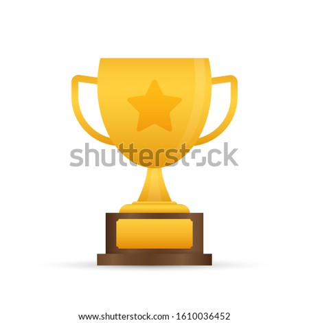trophy cup flat icon with star