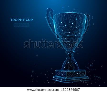 Trophy cup form lines and triangles, point connecting network on blue background. sport cup, champion's cup. Polygon vector wireframe concept, mesh art