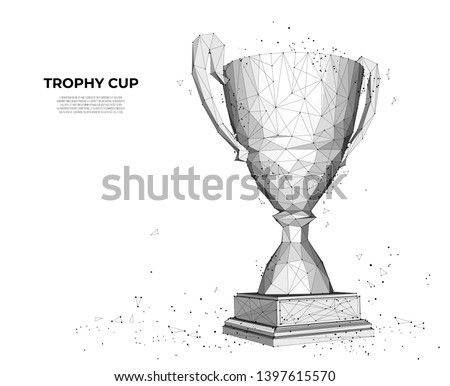 Trophy cup from lines and triangles, point connecting network on white background. sport cup, champion's cup. Polygon vector wireframe concept, mesh art