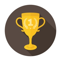 Trophy Cup Icon Flat. For user interface. Golden trophy cup button. 1st place