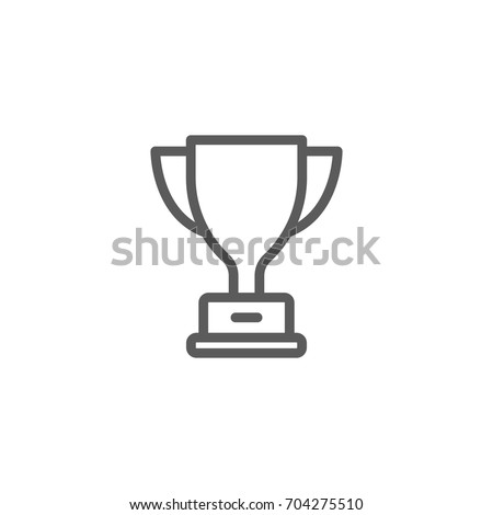 Trophy cup line icon, Vector on white background