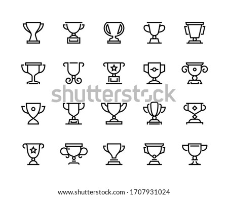 Trophy cup line icons. Competition prize and sport team awards, winner reward and competition award symbols. Vector set black reward icon isolated on white