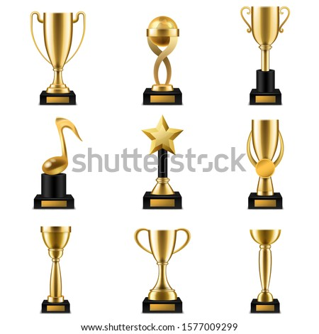 Trophy cup. Realistic golden trophy cups and prize in different shapes, triumph champions, celebration success sports winner awards vector competition set