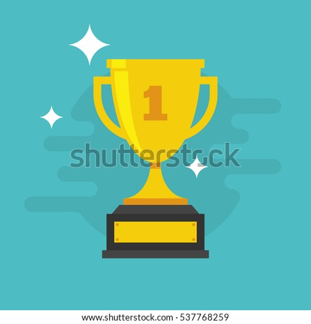 Trophy Cup Vector Flat Icon with number one