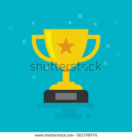 Trophy Cup Vector Flat Icon with star on cyan background