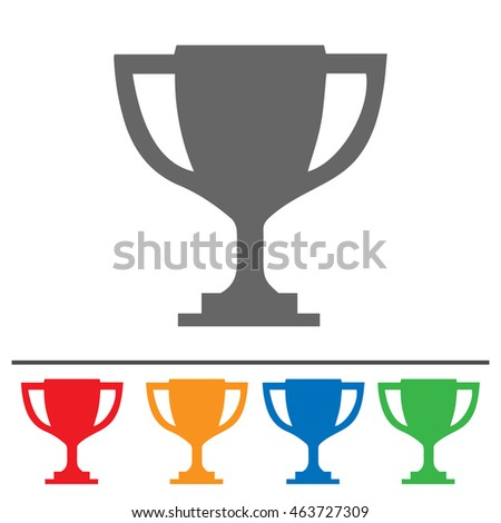 Trophy cup vector icon. Simple isolated set.
