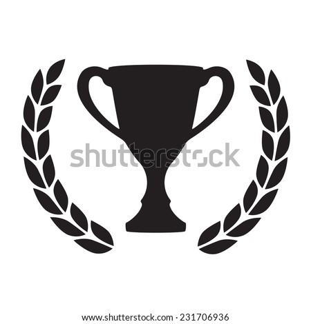 Trophy cup with Laurel wreath. Award icon or sign. Black winner symbol on white background. Vector illustration.
