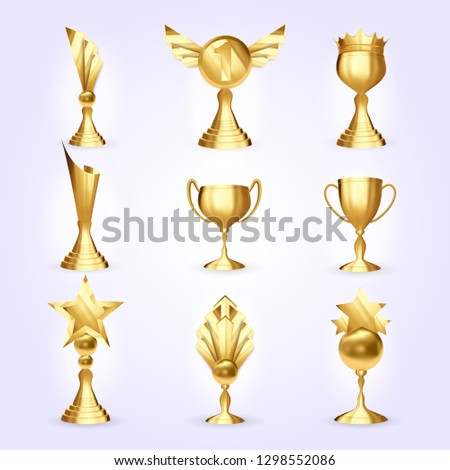 Trophy Cups Set Vector. Success Golden Trophy Award. Different Champion Icon. Winner Leader Prize. First 1st Place. Best One. Event Victory Ceremony 3D Realistic Illustration