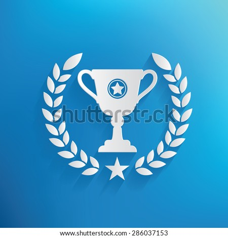 Trophy design on blue background clean vector