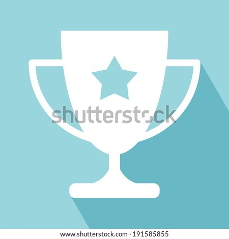 Trophy Icon Trophy Cup Flat Icon with Long Shadow Trophy Icon vector isolated on llight blue background EPS 10 vector illustration for design All in a single layer Vector illustration