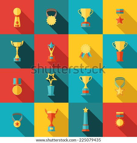 Trophy icons flat set of medallion success award winner medal isolated vector illustration