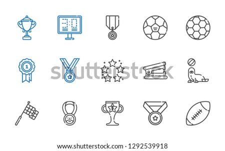 trophy icons set. Collection of trophy with american football, medal, racing, seal, stapler remover, best, football, scoreboard. Editable and scalable trophy icons.