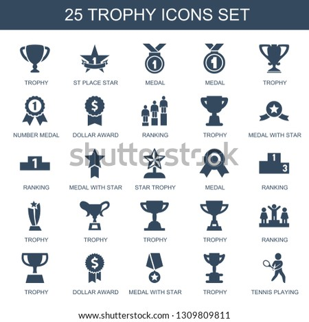 trophy icons. Trendy 25 trophy icons. Contain icons such as st place star, medal, number medal, dollar award, ranking, medal with star, star trophy. trophy icon for web and mobile.
