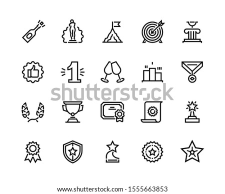 Trophy line icon. Quality certificate and badge, award cup and winner reward, champion trophy for first place. Vector certificate and award set badge like symbol glory and achievement