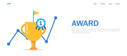 Trophy or award icon,Business success concept,1st place win,flat vector illustration