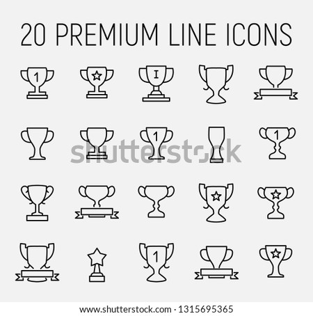 Trophy related vector icon set. Well-crafted sign in thin line style with editable stroke. Vector symbols isolated on a white background. Simple pictograms