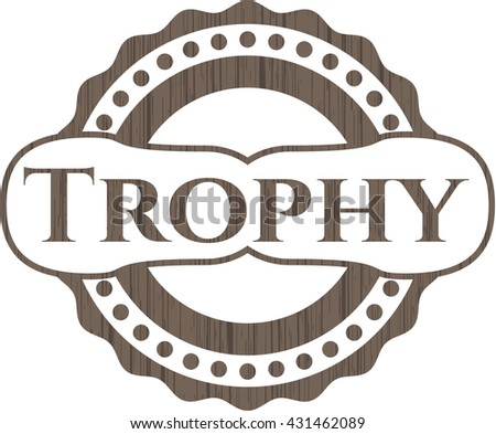 Trophy retro style wood emblem