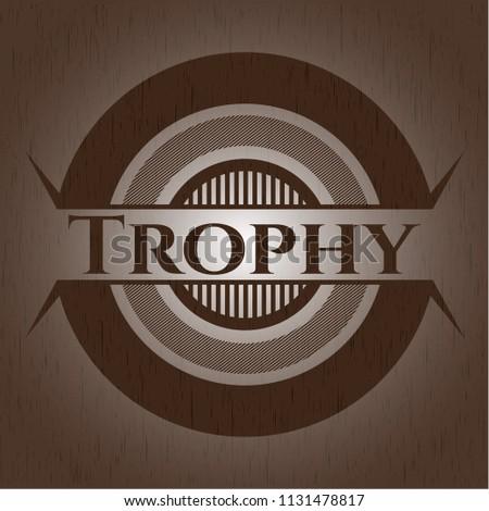 Trophy retro style wooden emblem - Shutterstock ID 1131478817