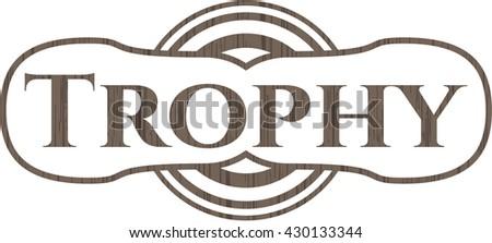 Trophy retro wooden emblem