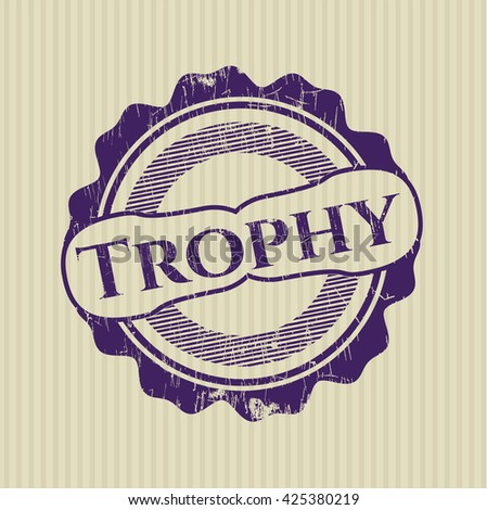 Trophy rubber stamp with grunge texture