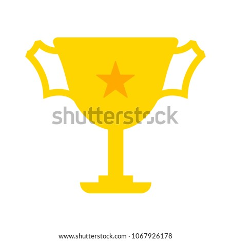 Trophy star icon - gold prize isolated, award winner prize, achievement symbol