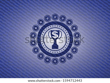 trophy with money symbol inside icon inside emblem with jean background