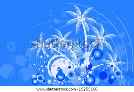 Tropic background night with palm tree