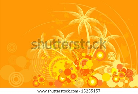 Tropic background with palm tree