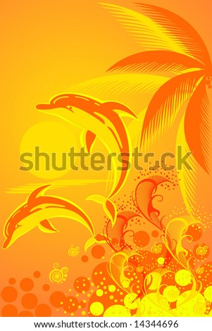 Tropic background with palm tree and two dolphins