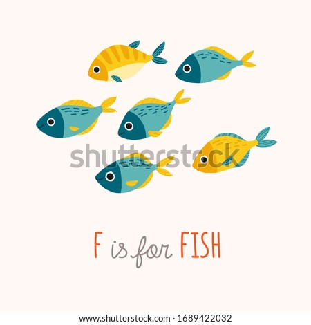 Tropic blue and yellow fish smiling. Cartoon vector clipart eps 10 hand drawn illustration isolated on white background. stock photo