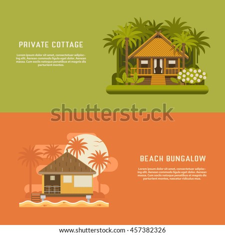 tropic bungalow banners wooden