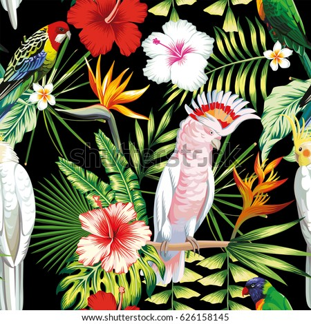 Tropic exotic multicolor birds parrot, macaw with tropical plants, banana palm leaves, flowers Strelitzia, hibiscus on a black background. Print jungle seamless vector pattern